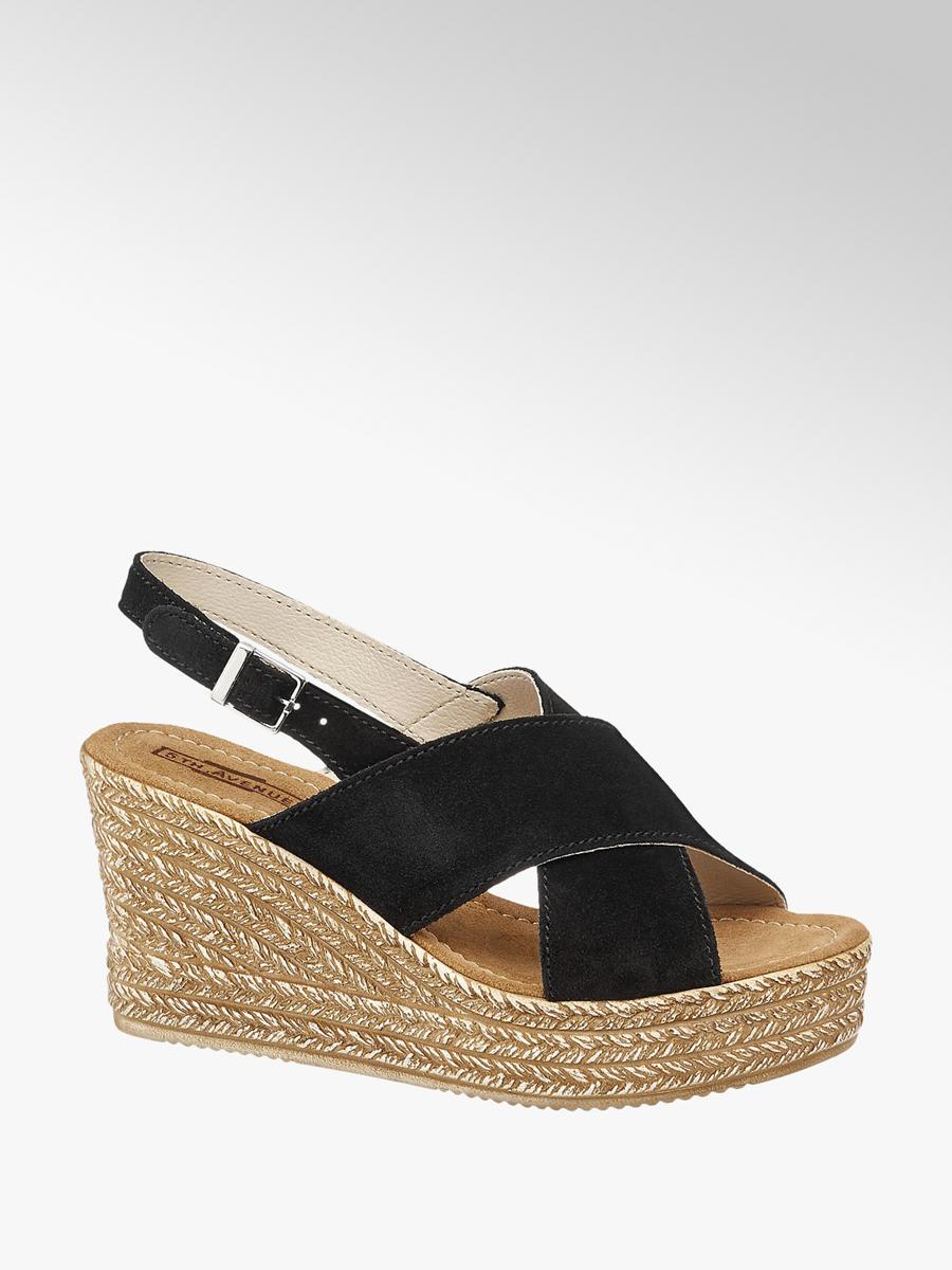 7f93bbb90af0 Semišové sandále na klinovom podpätku značky 5th Avenue vo farbe čierna -  deichmann.com
