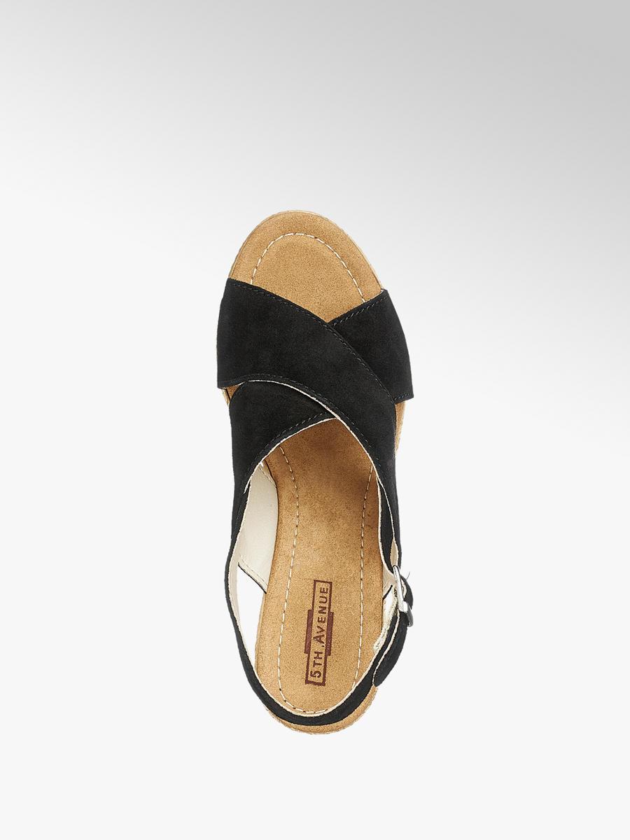 7eae3d98d78cd Semišové sandále na klinovom podpätku značky 5th Avenue vo farbe ...