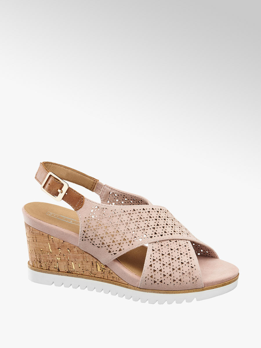 5e7a676982f6 Semišové sandále na klinovom podpätku značky 5th Avenue vo farbe ružová -  deichmann.com