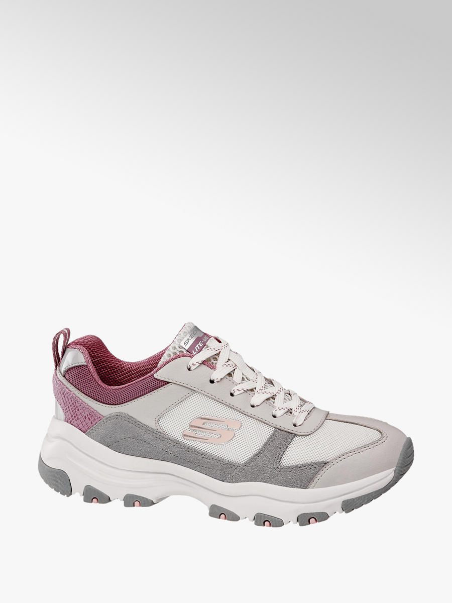 new style 5801a c969f Skechers Ladies' Grey and Pink Lace-up Trainers | Deichmann