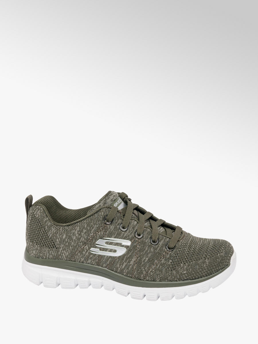 945a01a13 Skechers Ladies Lace-up Trainers Olive | Deichmann