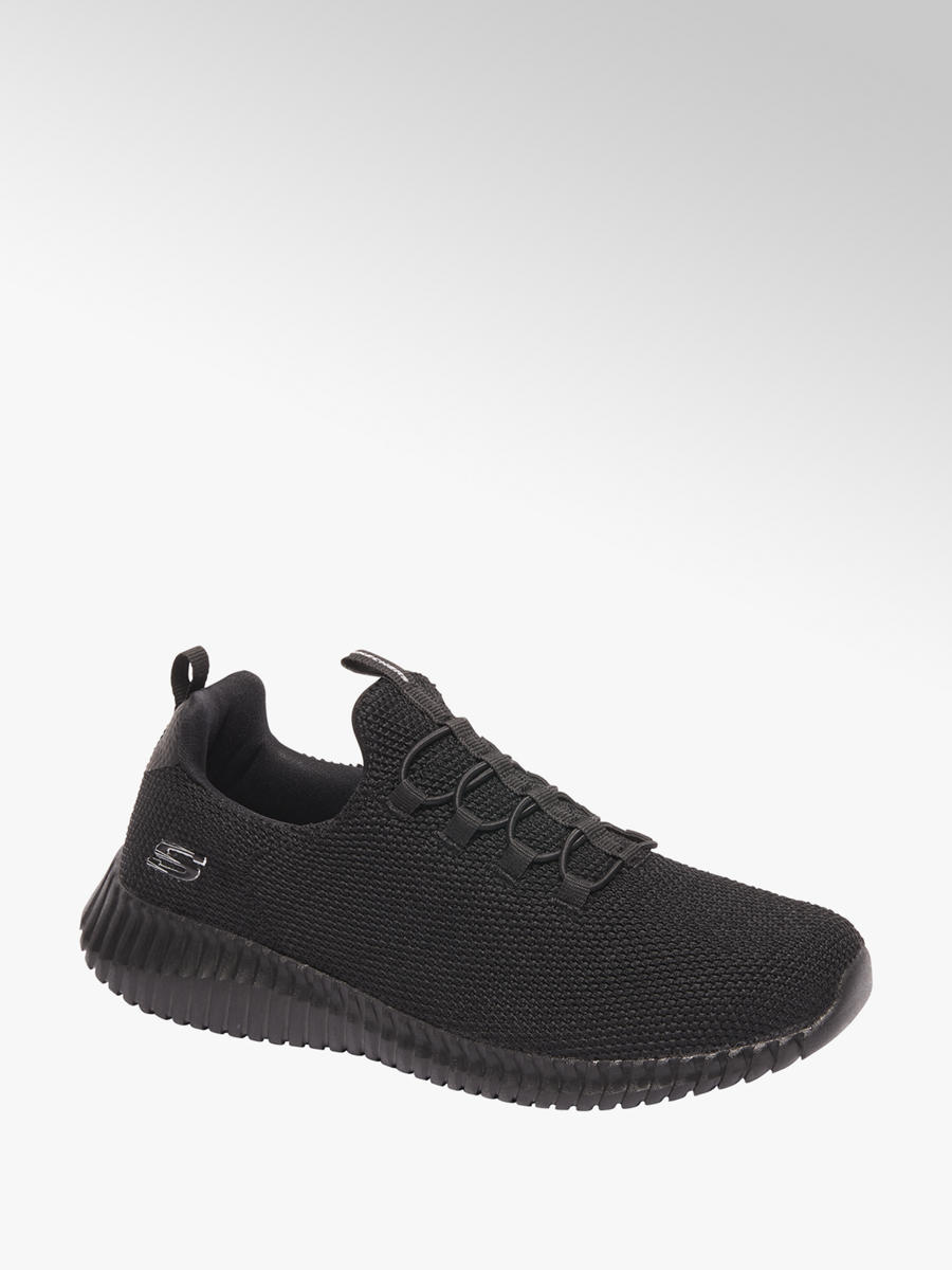 black sketchers trainers