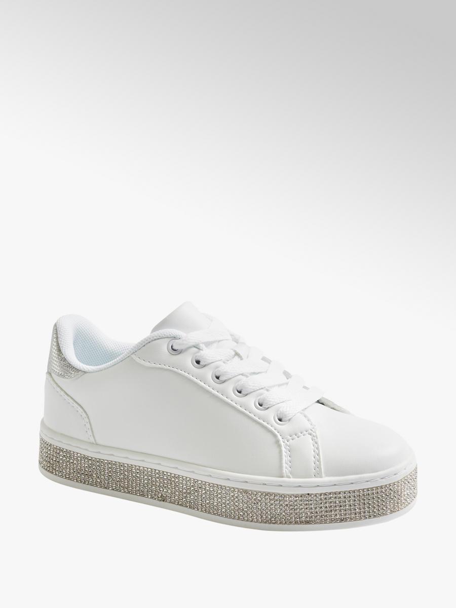 a12281290dec2 Sneaker bianca con strass sulla suola da bambina