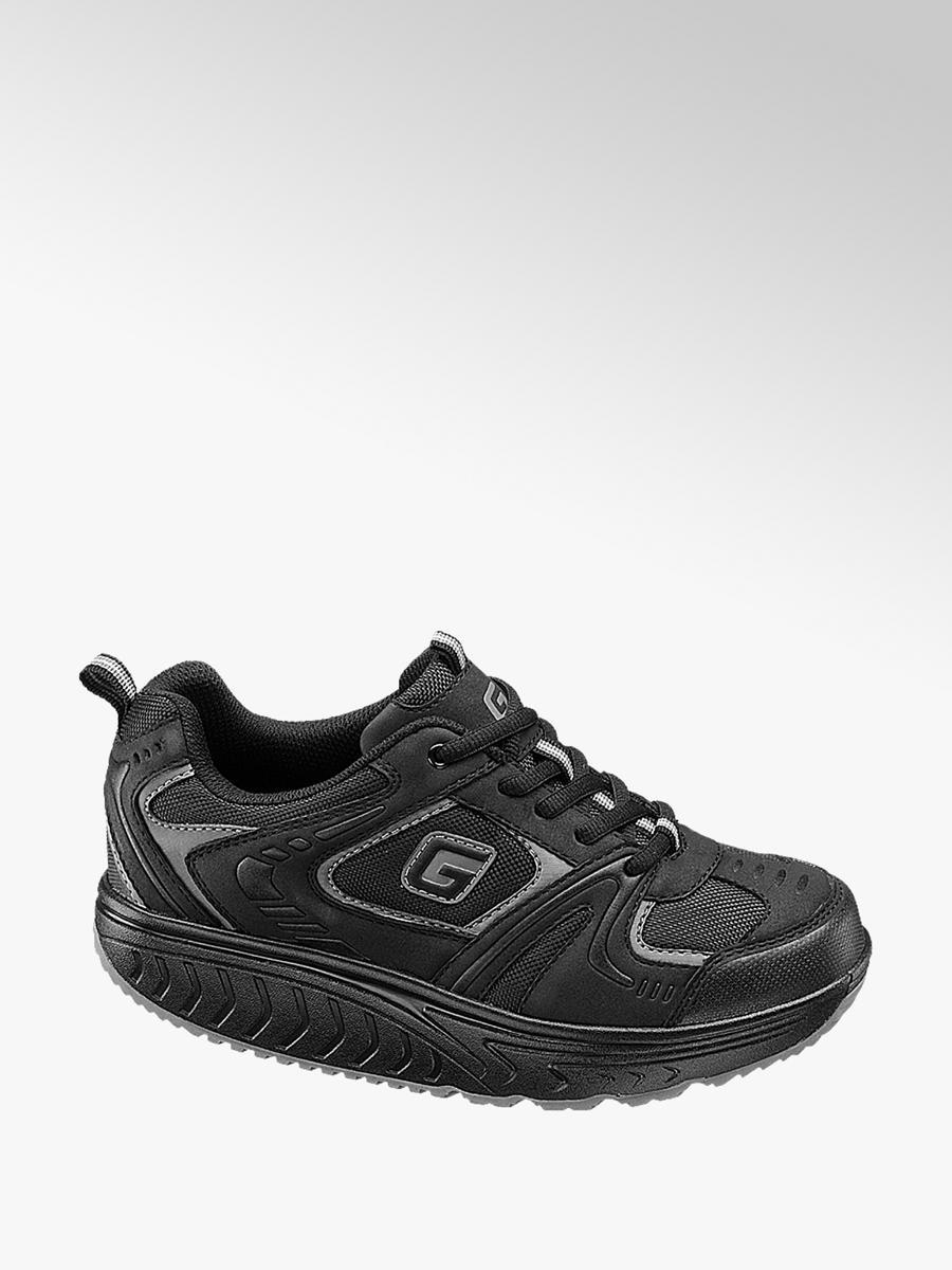 aecf4aebae57c Sneaker suola alta nera da donna