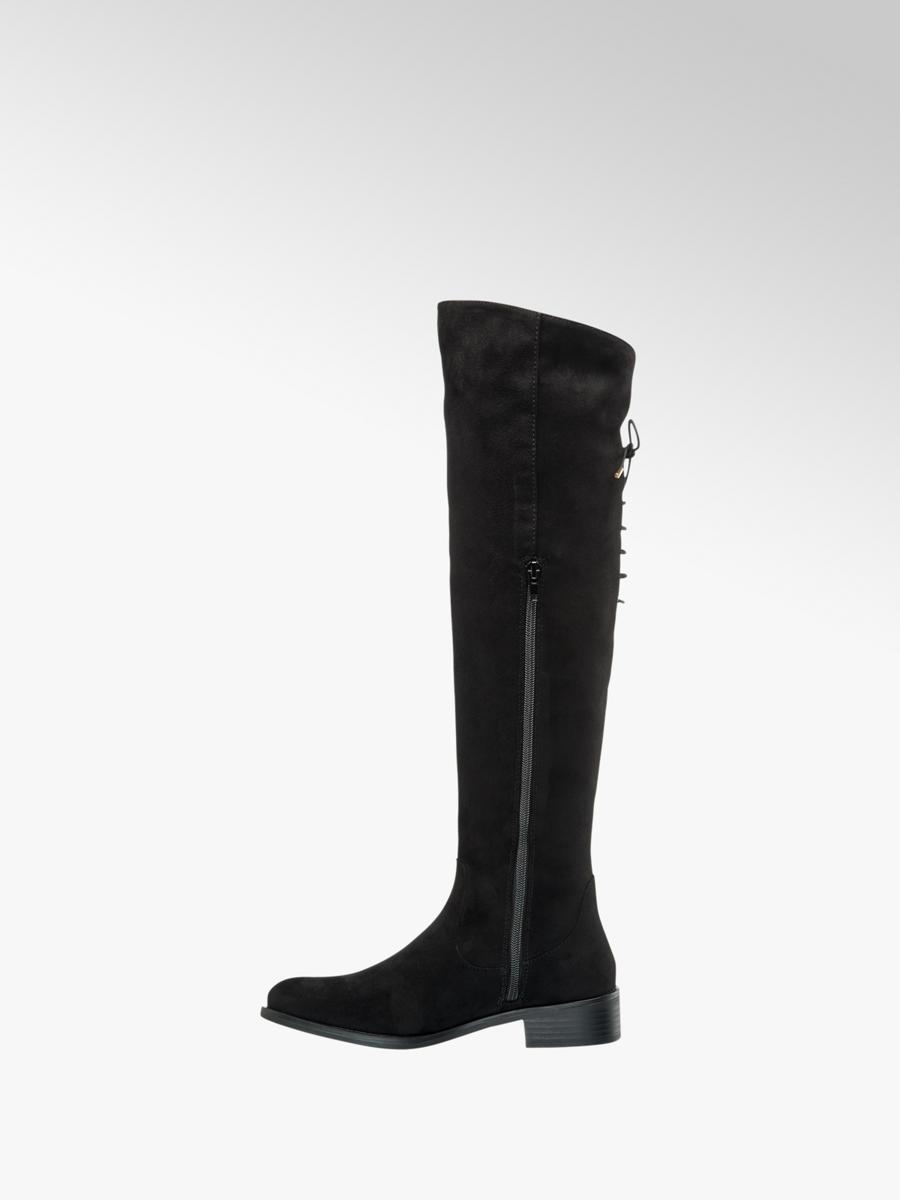 Tassel Flat Over Knee Boots Black
