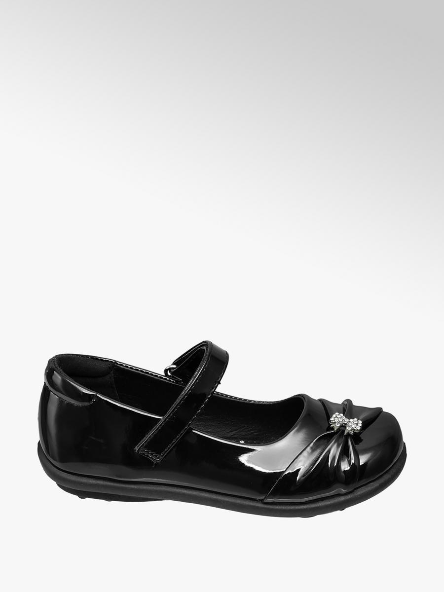 Gem Bow Detail School Shoes Black