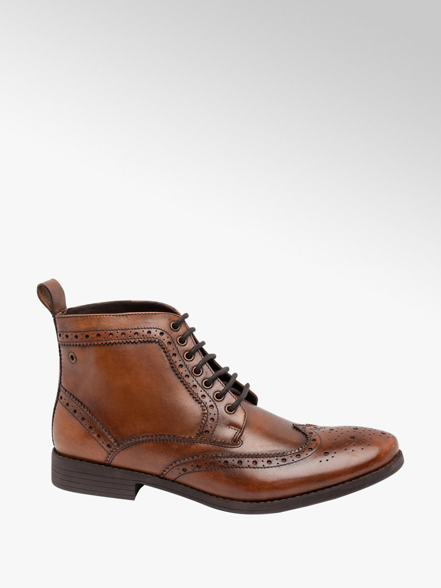 Leather Formal Lace-up Boots Brown