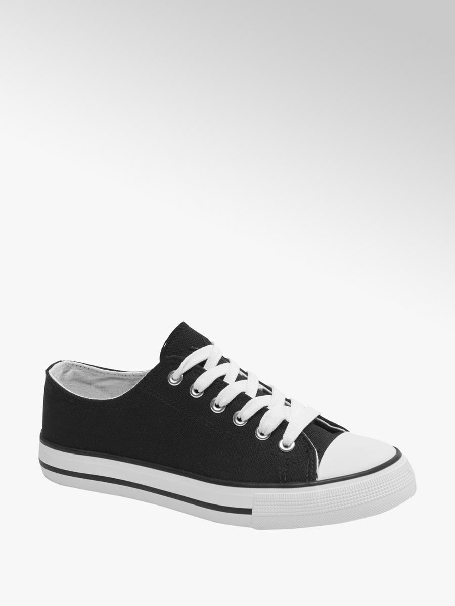 Vty Ladies Black Canvas Lace up Trainers | Deichmann