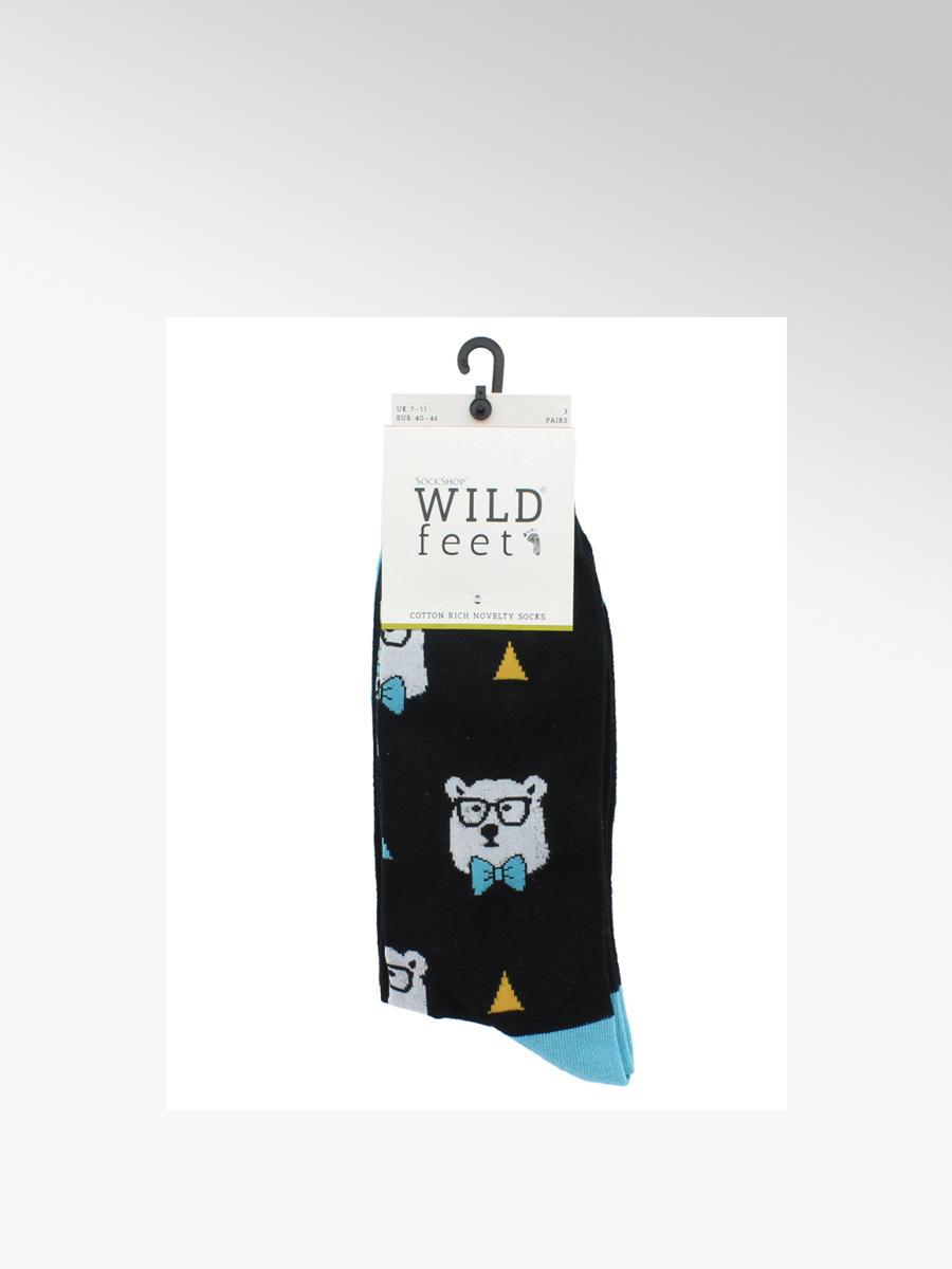 bab70425c71 Wildfeet Mens 3 Pack Wildfeet Polar Bear Ankle Socks (UK 7-11)