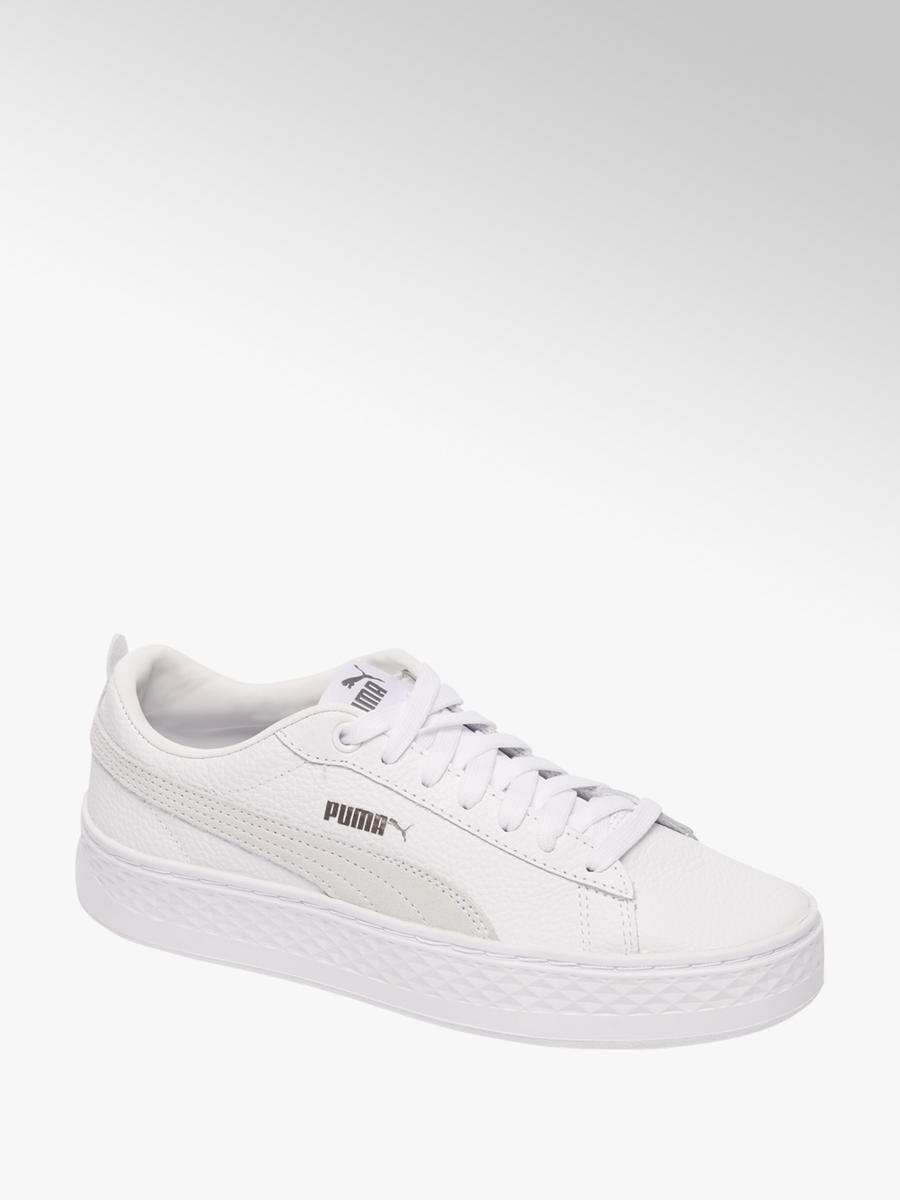 28a1351b53d Witte Puma Smash platform sneaker - vanHaren
