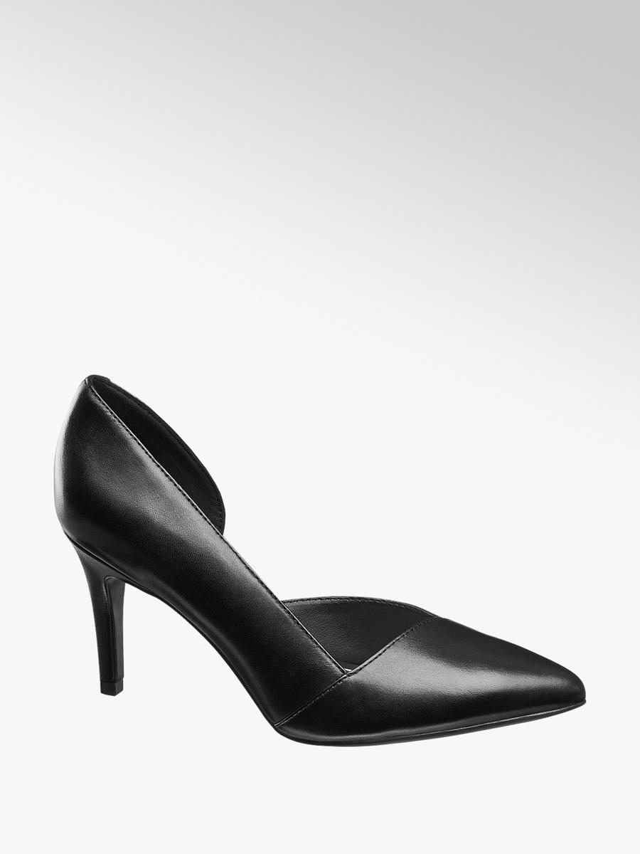 Ladies Black Leather Court Heels