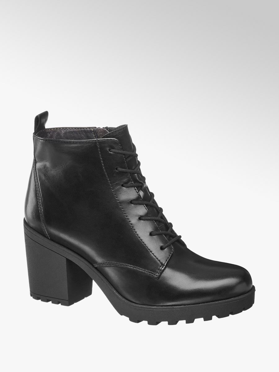 5th Avenue Leder Schnürstiefeletten in Schwarz | DEICHMANN AT