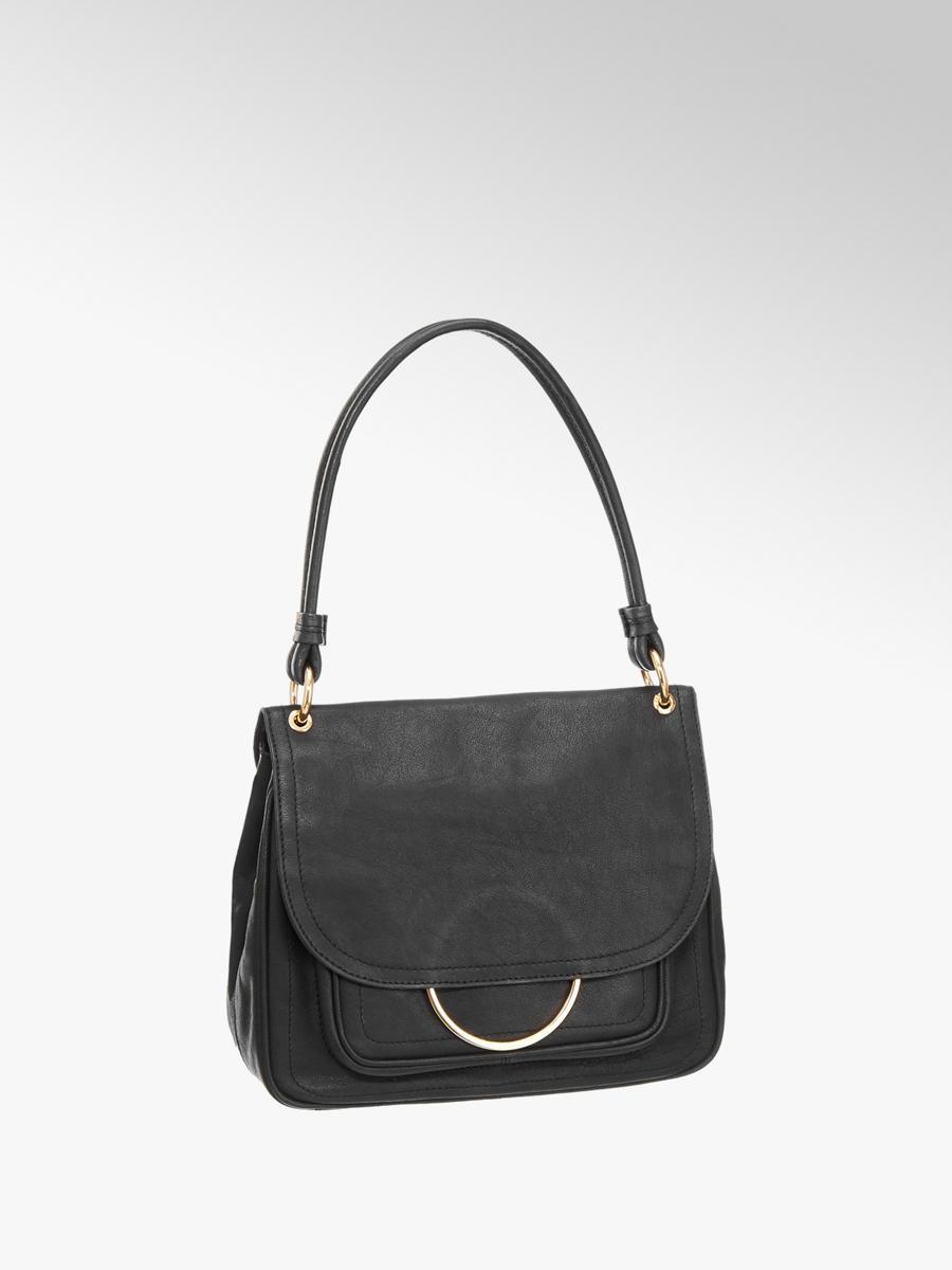6ae4719daab53 5th Avenue Ladies  Black Leather Ring Detail Shoulder Bag