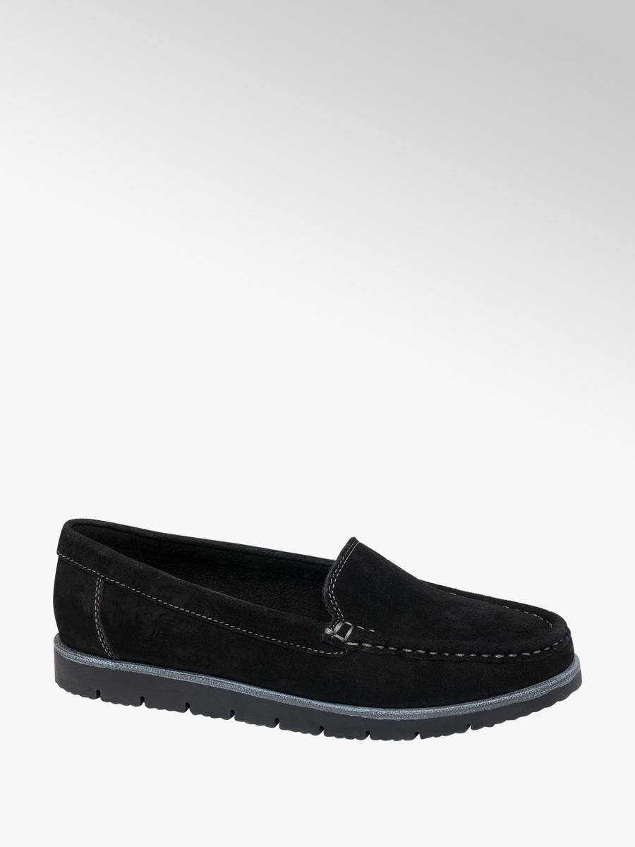 5th Avenue Ladies' Black Leather Slip