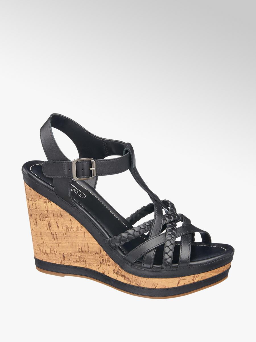 3e1123a866 5th Avenue Ladies' Black Leather Wedge Sandals   Deichmann
