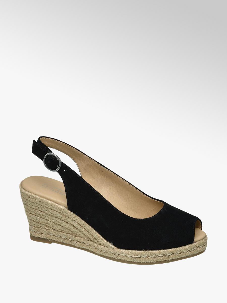 f93307c5e0 5th Avenue Ladies' Slingback Wedge Heels Black   Deichmann