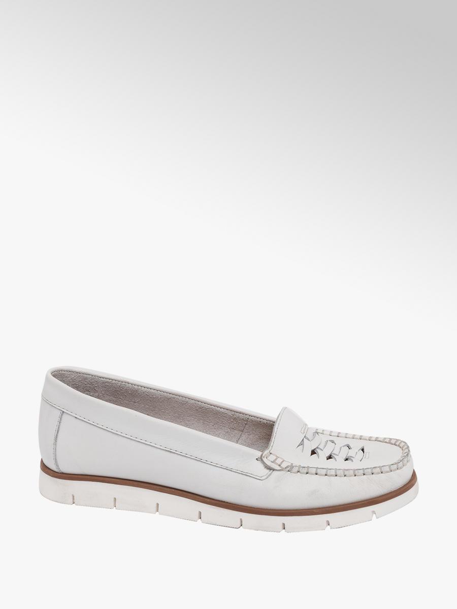 561e9cfc7c91e 5th Avenue Ladies White Leather Slip On Loafers | Deichmann