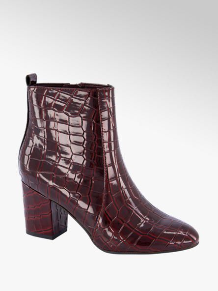 Graceland Bordeaux enkellaars crocoprint