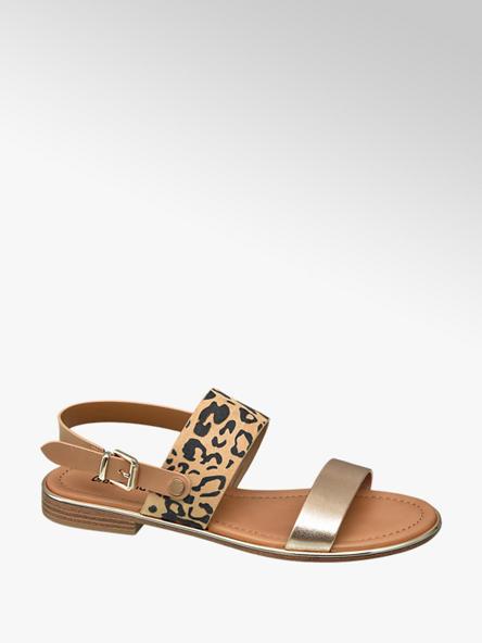 Graceland Bruine sandaal panterprint