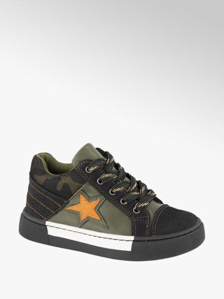 Bobbi-Shoes Groene halfhoge sneaker leren voetbed
