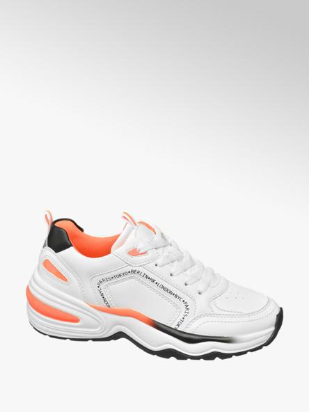 Graceland Witte / neon oranje chunky sneaker