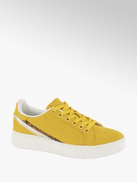 Graceland Oker gele sneaker slangenprint