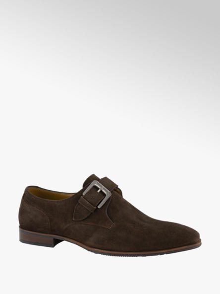 AM shoe Donkerbruine suède geklede schoen gesp