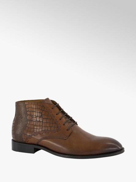AM shoe Cognac leren veterschoen crocoprint