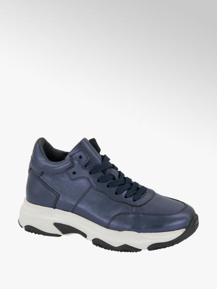 Graceland Donkerblauwe leren chunky sneaker metallic