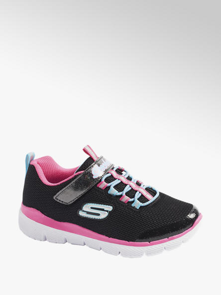 Skechers Junior Girls Skechers Black/ Pink Touch Strap Trainers