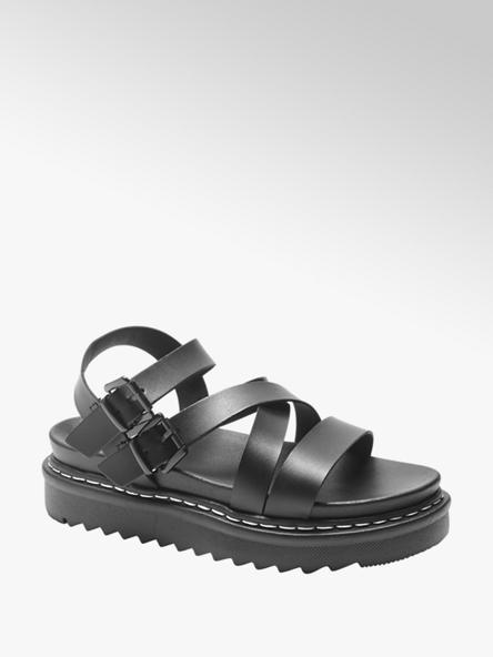 Catwalk Дамски черни сандали с платформа Catwalk