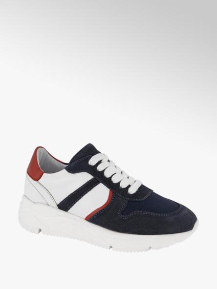 Vty Donkerblauwe leren chunky sneaker