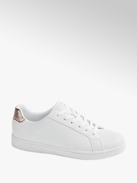 Graceland Ladies White Lace-up Cupsoles Trainers