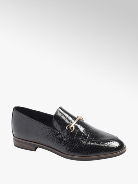 Graceland Black Croc Metal Trim Loafers
