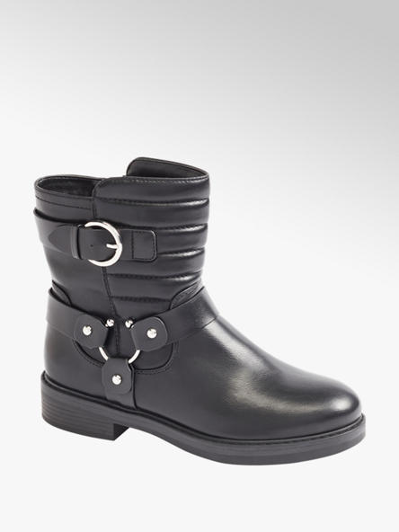 Graceland Black Quilted Ankle Boots