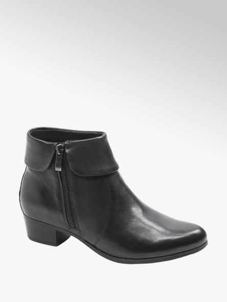 5th Avenue Navy Blue Leather Ankle Boots