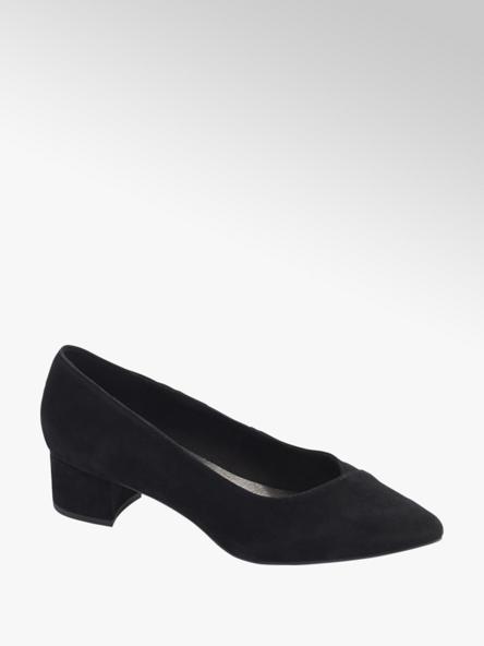 5th Avenue Black Block Heel Court Shoes