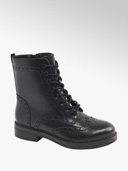 Graceland Black Brogue Detail Biker Boots