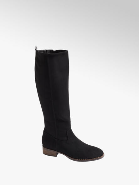Graceland Black Faux Suede Long Leg Boots