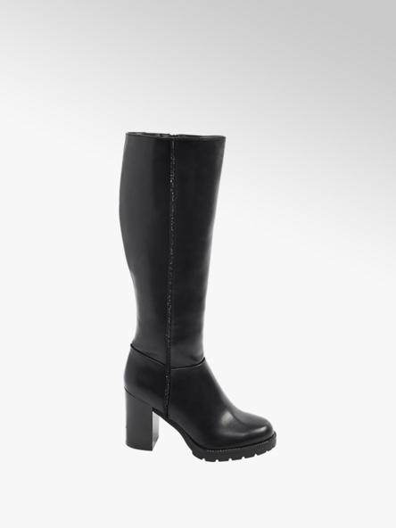 Catwalk Black Heeled Long Leg Boots