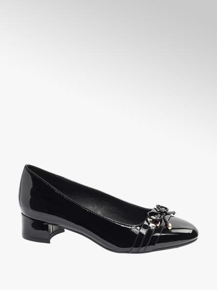 Graceland Black Heeled Patent Ballerinas