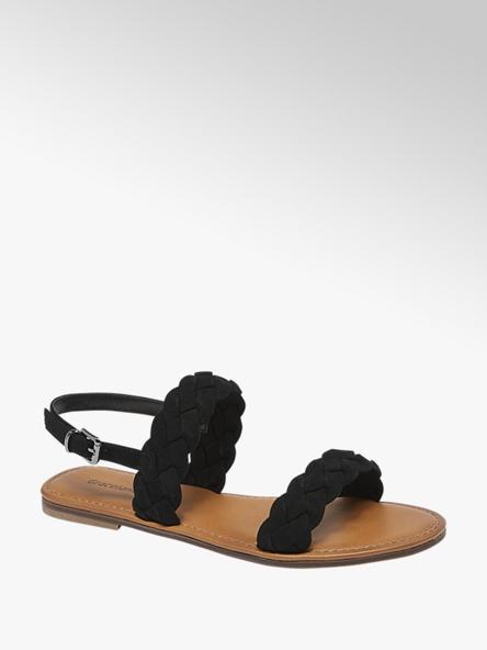 Graceland czarne sandałki damskie Graceland z paseczkami