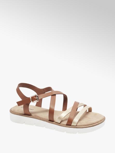 Graceland brązowo-srebrne sandały damskie Graceland