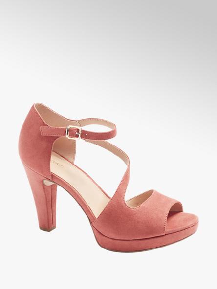 Graceland Дамски розови сандали с висок ток Graceland