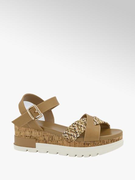 Oxmox Bruine sandalette platform