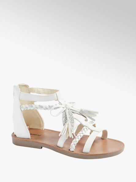Graceland biało-srebrne sandały dziewczęce Graceland