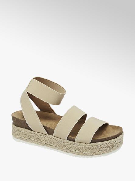 Graceland Дамски бежови сандали с ластик Graceland