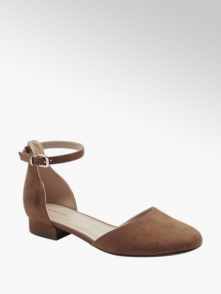 Graceland brązowe zakryte sandałki damskie Graceland