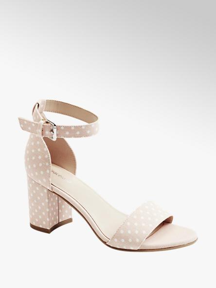 Graceland jasnoróżowe sandały damskie Graceland w groszki