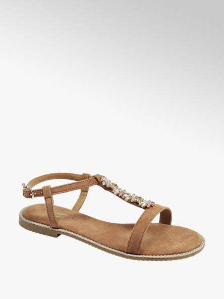 5th Avenue Bruine sandaal siersteen